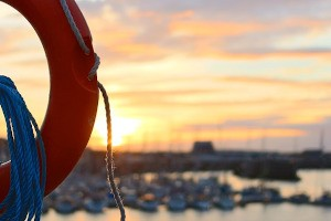 a life buoy in a harbour